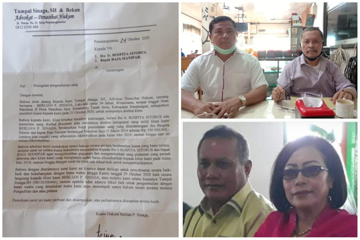 Kuasa Hukum Berlian Sinaga Somasi Rospita Sitorus Terkait Hutang Rp 100 Juta