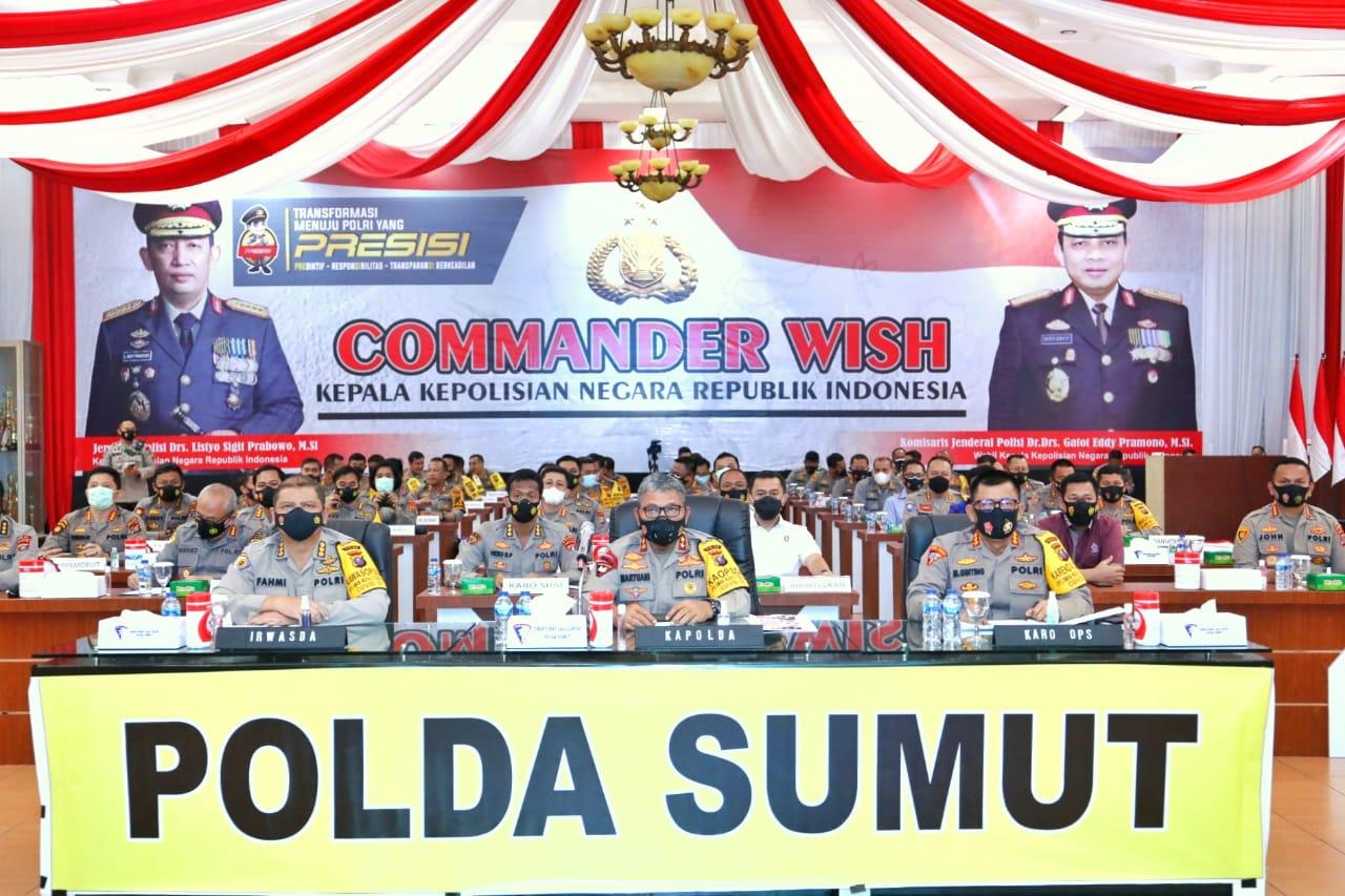 Kapolres Simalungun Ikuti Commander Wish Kapolri secara Virtual dipimpin Kapolda Sumut