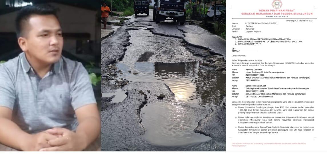 Jalan Provinsi di Simalungun Rusak Berat, GEMAPSI Surati Gubernur, DPRD Sumut & Direksi PTPN 4