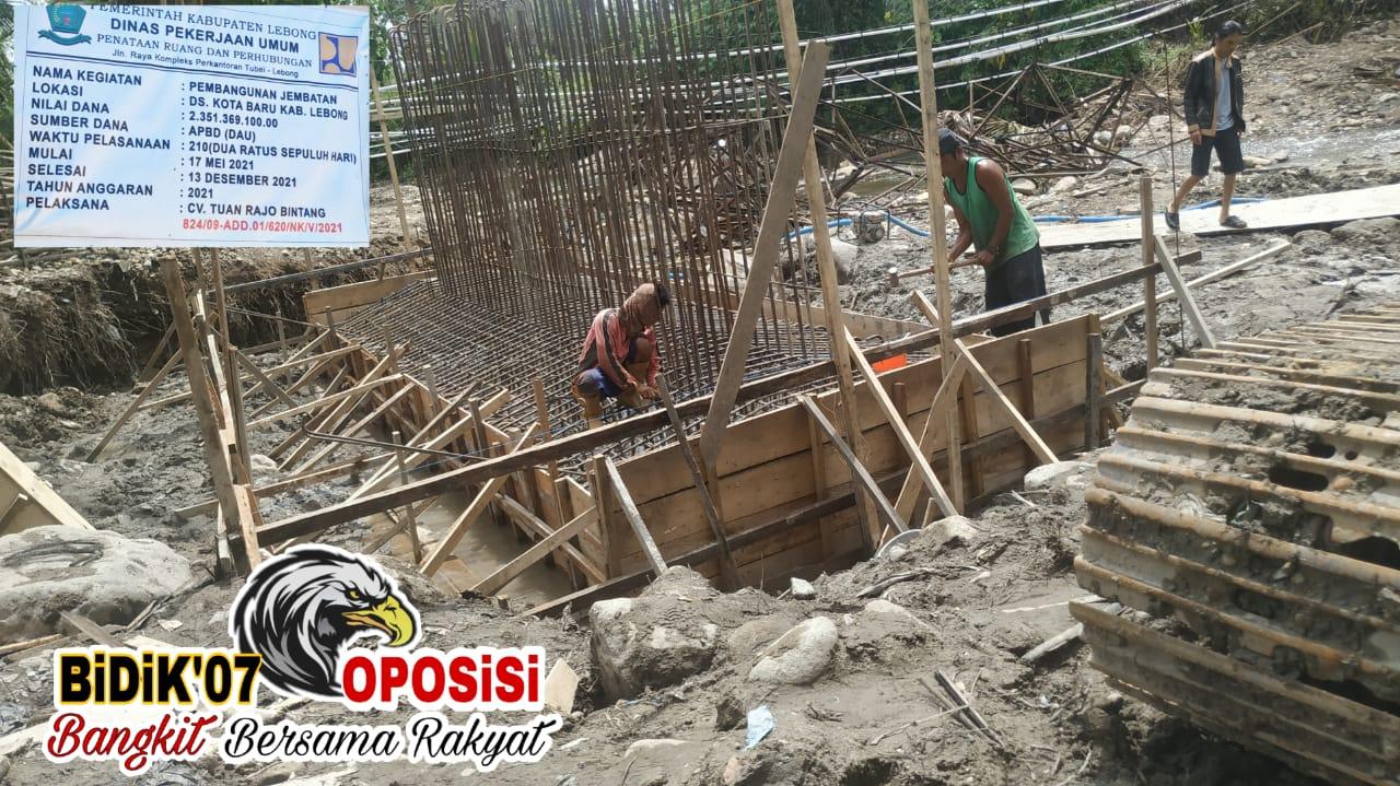 """Pembangunan Jembatan Ds Kota Baru Uram Jaya, """"Rawan Pencurian Volume"""""""